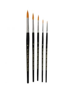 Gold Line Brushes, round, no. 1-18, W: 2-7 mm, 5 pc/ 1 pack