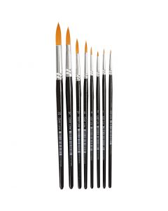 Gold Line Brushes, round, no. 0-22, W: 1,5-8 mm, 8 pc/ 1 pack