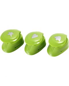 Paper Punches, christmas tree, heart, star, size 25 mm, 3 pc/ 1 pack