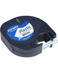 DYMO Plastic Tape, L: 4 m, W: 12 mm, white, 4 m/ 1 roll