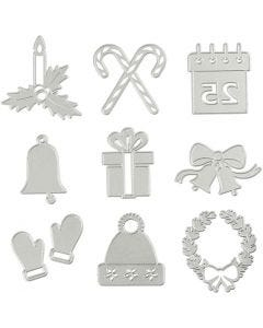 Die Cut and Embossing Folder, christmas motifs, D: 2-6,5 cm, 1 pc