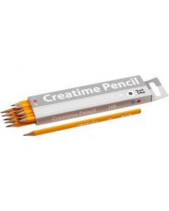 School Pencils, L: 17,45 cm, hardness HB, thickness 7 mm, lead 2 mm, 12 pc/ 1 pack
