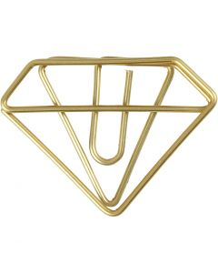 Metal Paperclips, diamond, H: 25 mm, W: 35 mm, gold, 6 pc/ 1 pack