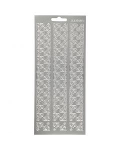 Stickers, corners, 10x23 cm, silver, 1 sheet