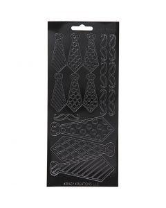 Stickers, ties, 10x23 cm, black, 1 sheet