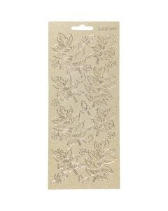 Stickers, leaves, 10x23 cm, gold, 1 sheet