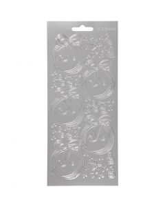 Stickers, Christmas balls, 10x23 cm, silver, 1 sheet
