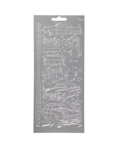 Stickers, cars, 10x23 cm, silver, 1 sheet