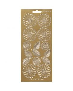 Stickers, daisies, 10x23 cm, gold, 1 sheet