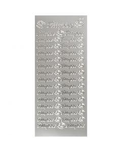 Stickers, tillykke, 10x23 cm, silver, 1 sheet