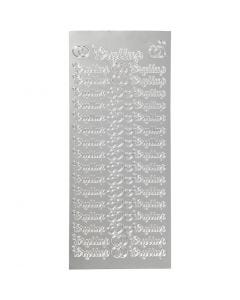 Stickers, bryllup, 10x23 cm, silver, 1 sheet