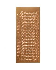 Stickers, kobberbryllup, 10x23 cm, copper, 1 sheet