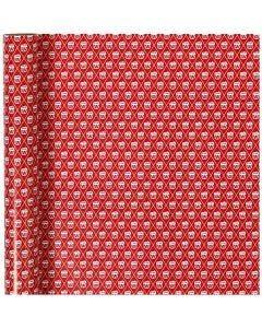 Gift wrap, drum, W: 70 cm, 80 g, red, white, 4 m/ 1 roll