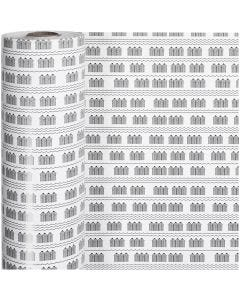 Gift wrap, bathhouse, W: 57 cm, 80 g, black, white, 150 m/ 1 roll