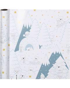 Gift wrap, Arctic Christmas, W: 70 cm, 80 g, 4 m/ 1 roll