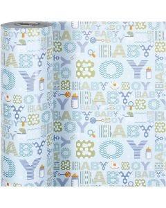 Gift wrap, baby boy, W: 50 cm, 80 g, 150 m/ 1 roll