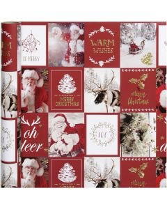 Gift wrap, Christmas motifs, W: 50 cm, 80 g, gold, red, 3 m/ 1 roll