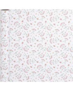 Gift wrap, flowers, W: 50 cm, 80 g, 5 m/ 1 roll