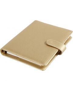 Planner, size 19x23,5x4 cm, ring folder, gold, 1 pc