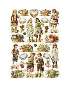 Vintage Die-Cuts, children and flowers, 16,5x23,5 cm, 3 sheet/ 1 pack