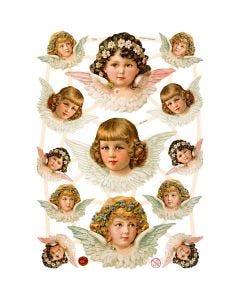 Vintage Die-Cuts, angels girls, 16,5x23,5 cm, 3 sheet/ 1 pack