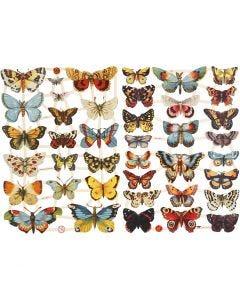 Vintage Die-Cuts, butterflies, 16,5x23,5 cm, 2 sheet/ 1 pack
