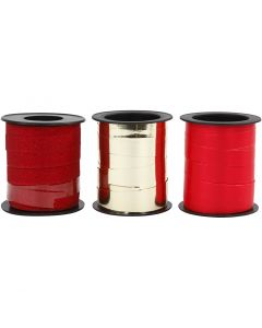 Curling Ribbon, gold, red, red glitter, 3x15 m/ 1 pack