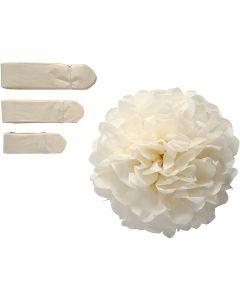 Tissue Pompons, D: 20+24+30 cm, 16 g, off-white, 3 pc/ 1 pack