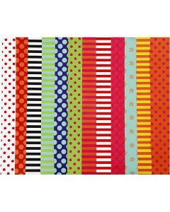 Glazed Paper, Pattern, 32x48 cm, 80 g, assorted colours, 100 ass sheets/ 1 pack