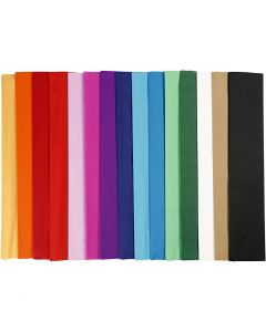 Crepe Paper, L: 2,5 m, W: 50 cm, 22 g, assorted colours, 60 pleats/ 1 pack