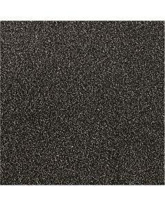 Glitter Film, W: 35 cm, thickness 110 my, black, 2 m/ 1 roll