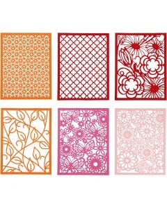 Pad with Cardboard Lace Patterns, A6, 104x146 mm, 200 g, orange, pink, rose, red, 24 pc/ 1 pack