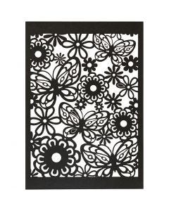 Lace Patterned cardboard, 10,5x15 cm, 200 g, black, 10 pc/ 1 pack