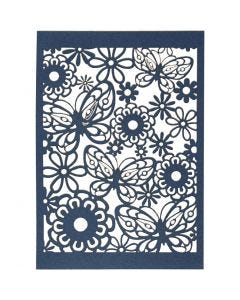 Lace Patterned cardboard, 10,5x15 cm, 200 g, blue, 10 pc/ 1 pack