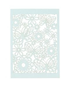Lace Patterned cardboard, 10,5x15 cm, 200 g, light blue, 10 pc/ 1 pack