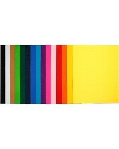 Corrugated Card, 50x70 cm, 80 g, 15 ass sheets/ 1 pack