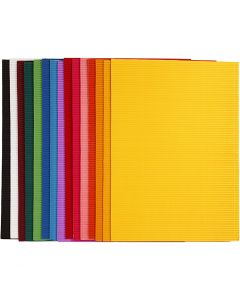 Corrugated Card, 25x35 cm, 80 g, 15 ass sheets/ 1 pack