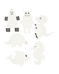 Embroidery card, animals/robots, H: 8-13 cm, white, 6x3 pc/ 1 pack