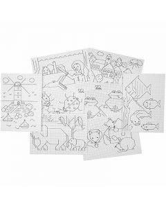 Cross Stitch Design Card , 3x3 holes per. cm, 8x5 sheet/ 1 pack