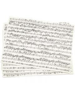 Kraft Paper with print, music notes, A4, 210x297 mm, 100 g, 10 sheet/ 1 pack
