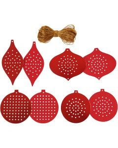 Cross Stitch Card, Christmas Ornament, H: 8,5-12 cm, hole size 3 mm, 280 g, metallic red, 32 pc/ 1 pack