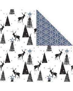 Design Paper, deer and pattern, 180 g, black, silver, white, 3 sheet/ 1 pack