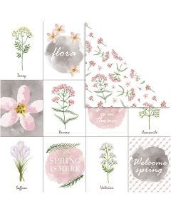 Design Paper, flowers, 30,5x30,5 cm, 180 g, 5 sheet/ 1 pack