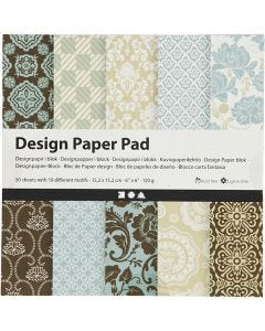 Design Paper Pad, 15,2x15,2 cm, 120 g, light blue, brown, 50 sheet/ 1 pack