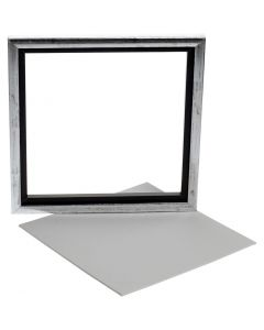 Framed Canvas Panel, depth 1,5 cm, size 25x25 cm, white, 1 pc