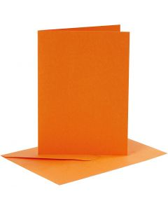 Cards and Envelopes, card size 10,5x15 cm, envelope size 11,5x16,5 cm, orange, 6 set/ 1 pack