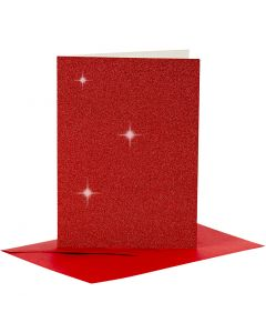 Cards and Envelopes, card size 10,5x15 cm, envelope size 11,5x16,5 cm, glitter, red, 4 set/ 1 pack