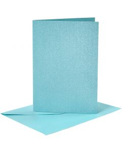 Cards and Envelopes, card size 10,5x15 cm, envelope size 11,5x16,5 cm, mother of pearl, blue, 4 set/ 1 pack