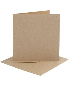 Cards and envelopes, card size 15,2x15,2 cm, envelope size 16x16 cm, 230 g, natural, 4 set/ 1 pack