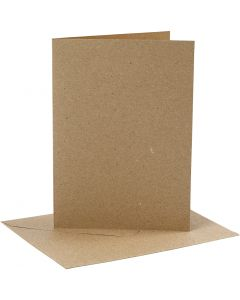 Cards and envelopes, card size 12,7x17,8 cm, envelope size 13,3x18,5 cm, 230 g, natural, 4 set/ 1 pack